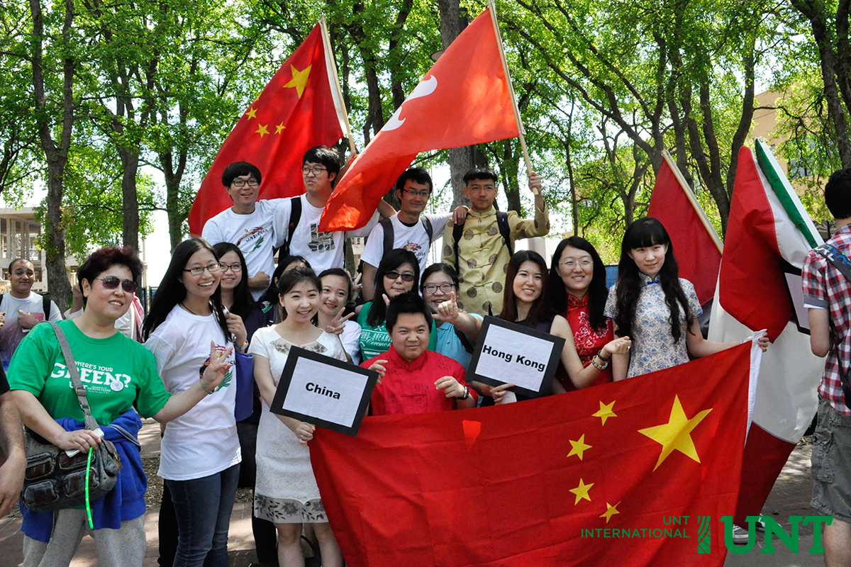 Chinese students at UNT Flag Parade